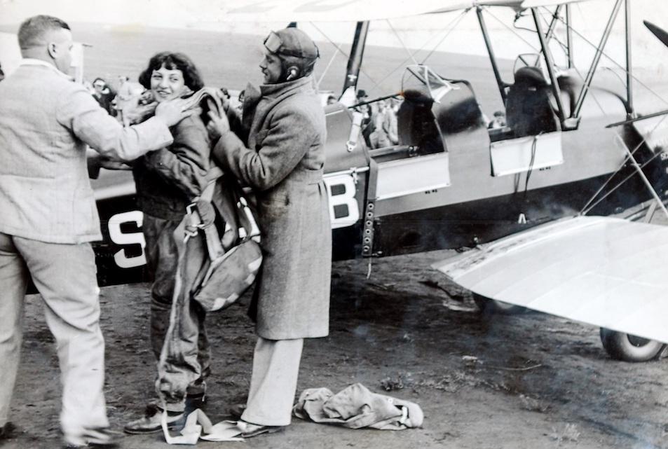 Jackie Moggridge preparing to parachute