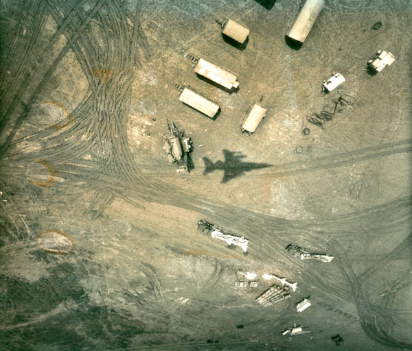 A Surface-to-Air Missile site in Northern Iraq, with the shadow of the Jaguar which took the image visible on the ground (I001-0120)