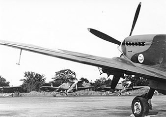 Manston Airport, 1945. Spitfires ready to fly over to Czechoslovakia. Moravské zemské muzeum
