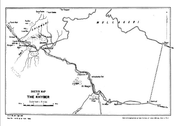Figure 2 — Map of the Khyber, from General Staff Branch, Army Headquarters, India, The Third Afghan War: Official Account (Calcutta: Government of India Central Publication Branch, 1926), p. 25.