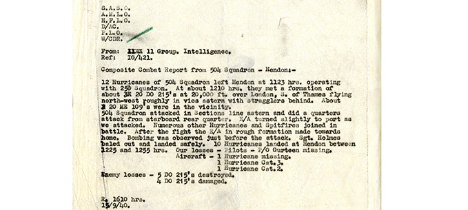 the Composite Combat Report  compiled for 11 Group Headquarters by the Intelligence Officer of No. 504 (County of Nottingham)Squadron for Sunday 15th September 1940 (Battle of Britain Day).