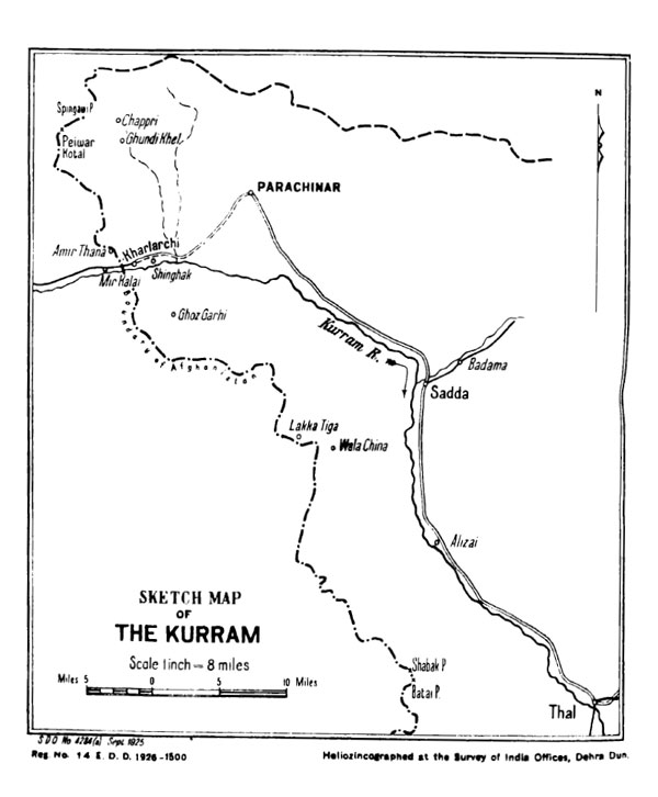 Figure 5 — Map of the Kurram Valley, from General Staff Branch, Army Headquarters, India, The Third Afghan War: Official Account (Calcutta: Government of India Central Publication Branch, 1926), p. 53.