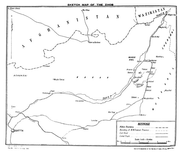 Figure 8 — Map of the Zhob Territory, from General Staff Branch, Army Headquarters, India, The Third Afghan War: Official Account (Calcutta: Government of India Central Publication Branch, 1926), p. 109.