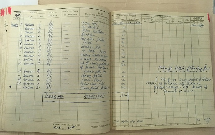 Figure 3: B354, Bader's log book. Entries for January 1941. Note text on right hand side. RAF Museum Archive Collection.