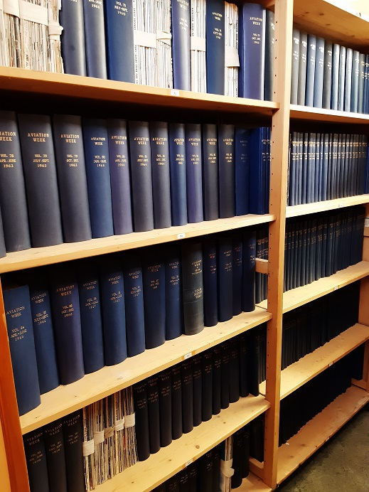 Shelves in the Library with Aviation Week