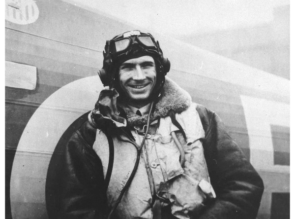 Portrait of Johnny Kent in flying clothing