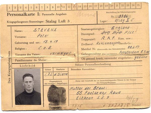 Peter Stevens'  POW Identity Card