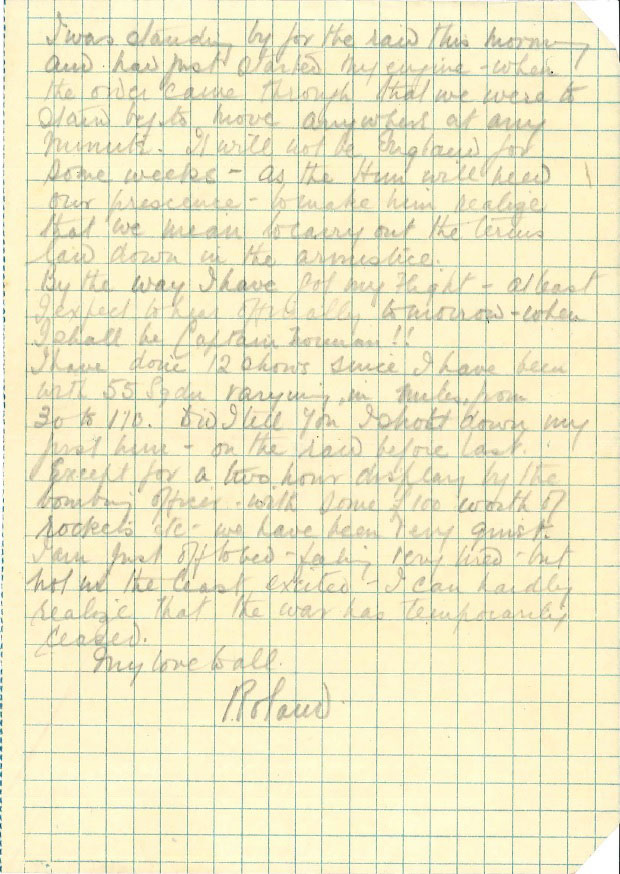 The letter written by Lieutenant Ronald FH Norman to his mother on Armistice Day