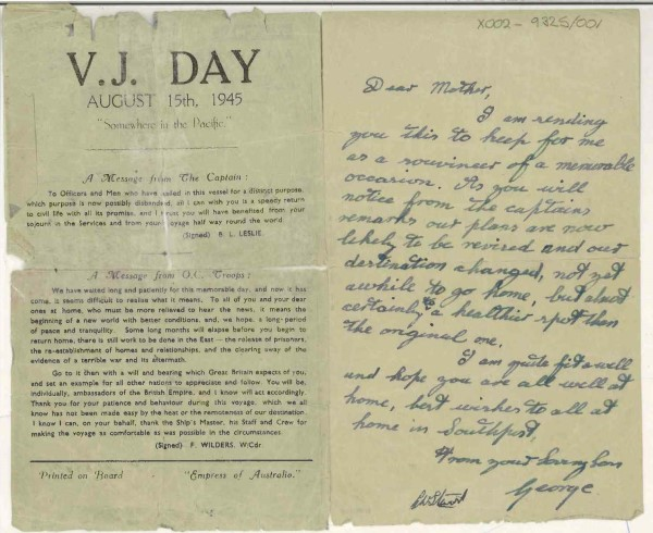 VJ Day souvenir letter from Cpl George Newman onboard HMT Empress of Australia, X002-9325/001