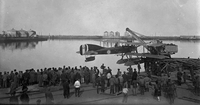 Short 184 from 226 Squadron being lifted into the water by crane at the Caspian port of Petrovsk