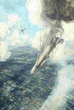 Burning Zeppelin diving towards the ground through clouds, with a monoplane in the background.