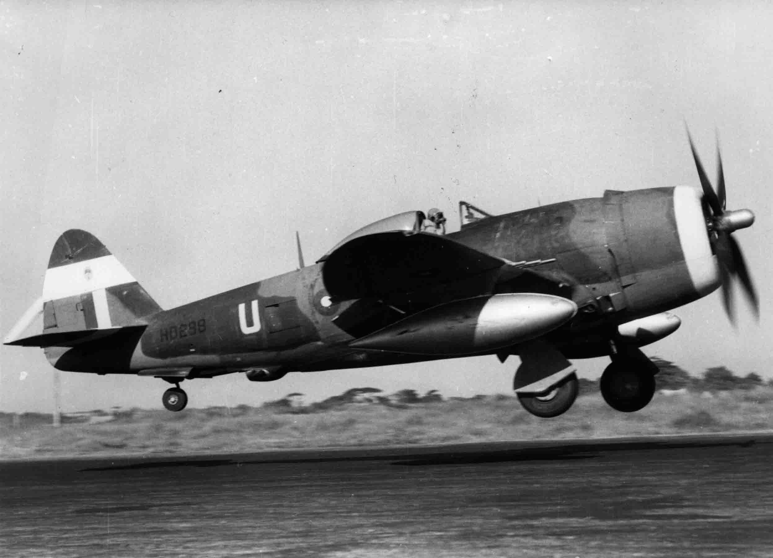 A Republic Thunderbolt Mk.II taking off in the Far East, (RAFM PC73/4/729)