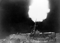 An Army anti-aircraft gun in action during raid. The Bofors 40mm gun was the standard light gun while heavier guns used were mobile 3.7inch and the fixed 4.5inch. To boost morale during an air raid, elder 3inch guns set on lorries were sent through towns and encouraged to fire whenever passing a shelter.