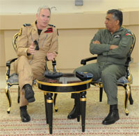 Chief of the Air Staff Sir Andrew Pulford with Air Vice Marshal Mattar Al-Obaidani, Commander, The Royal Air Force of Oman (CRAFO)