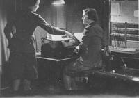 Teleprinter operators at work, 1940s