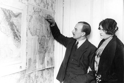 Sir Alan and Lady Cobham planning their Round Africa flight