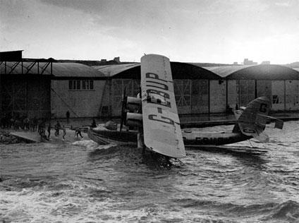 Sir Alan Cobham's Short Singapore flying boat being pulled up onto the slipway at RAF Kalafrana, Malta