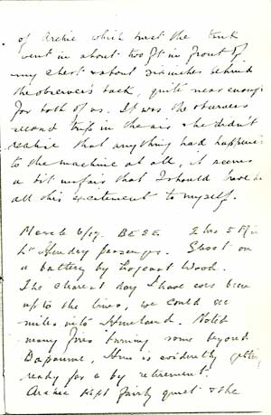 Lt Charles Smart's diary entry on 4 March 1917.