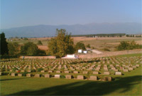 British War Cemetery, Macedonia, Northern Greece (with low-profile earthquake-proof headstones).