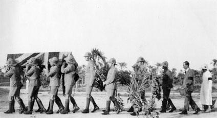 Royal Air Force mechanics acting as pall bearers at Arthur Elliott's funeral