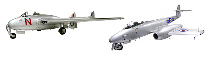 De Havilland Vampire F3 and Gloster Meteor F8 from the collection of the RAF Museum London