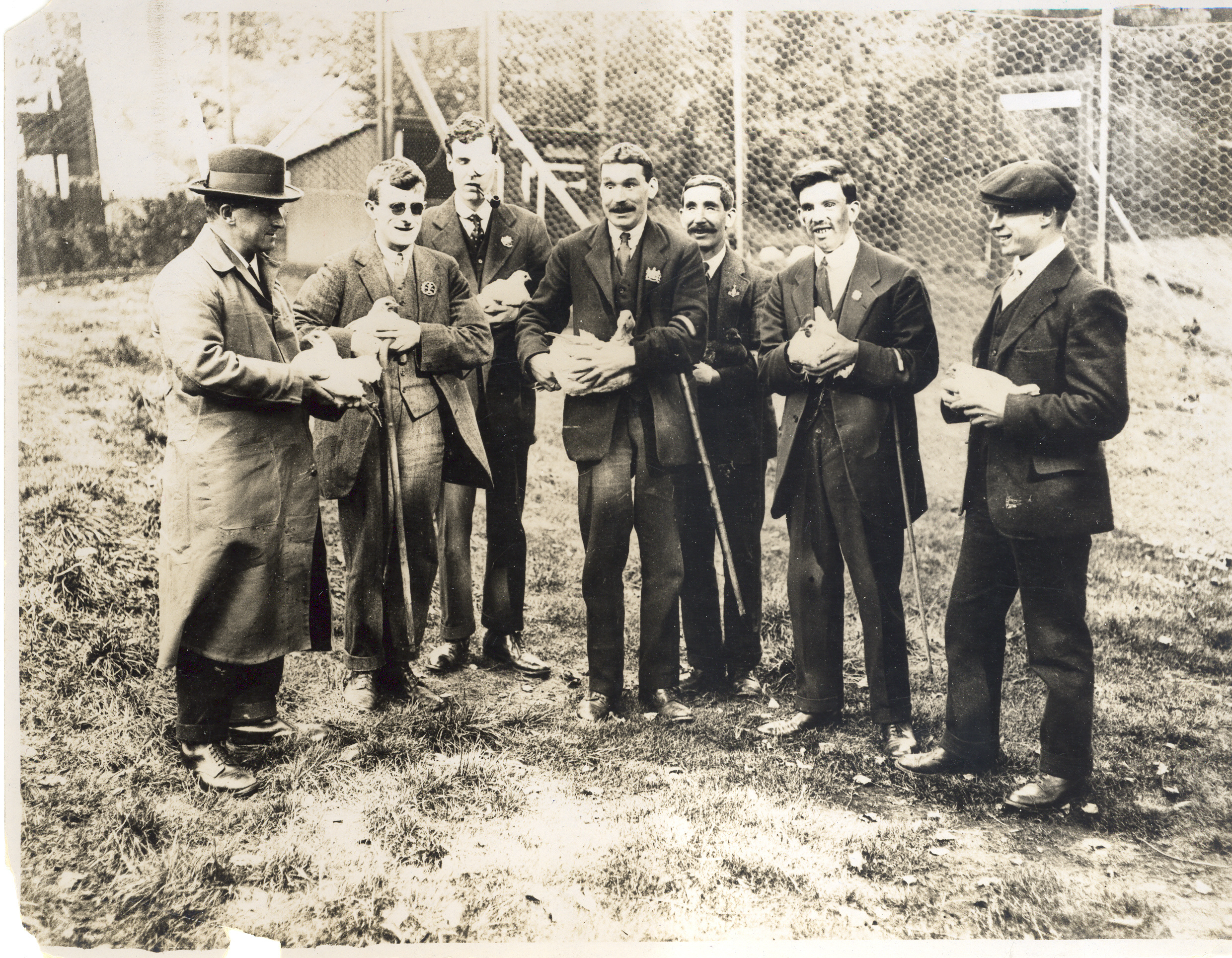 Members of St. Dunstan's undergoing training, note the differing types of facial injury sustained in the First World War. Image courtesy Blind Veterans UK.