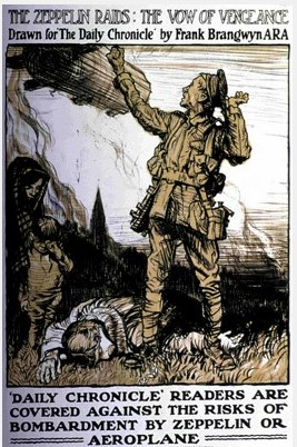 Illustration drawn for the Daily Chronicle, portraying a soldier looking up towards a Zeppelin, whilst a woman and child mourn a figure on the ground.