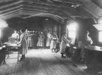 Members of the Household Section at work in the WRAF hostel kitchen, RAF Turnhouse, April 1919