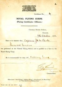 Central Flying School graduation certificate of Capt John Harold Whitworth Becke, 7 October 1912