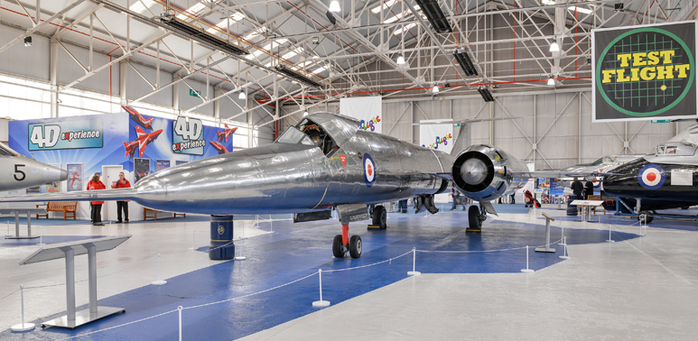 The Bristol 188 in the Test Flight Hangar at the RAF Museum Cosford