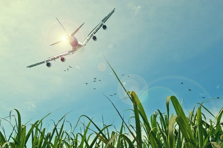 Aircraft flying over a field. Image courtesy of Pixabay.com