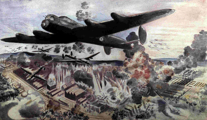 'Augsburg Raid, April 17 1942', a painting by Paul Nash showing Lancasters on bombing raid, with John Dering Nettleton's Lancaster of No. 44 Squadron in foreground. (FA00985)