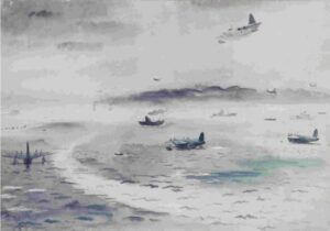 Impressionistic painting of aircraft on the ground and in flight