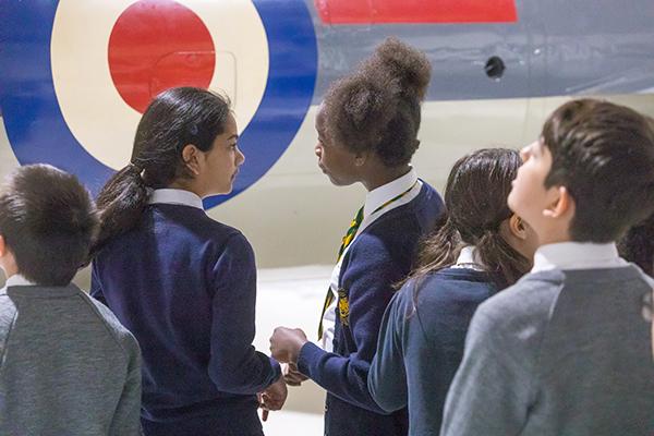 School Children in Hangar 5 London