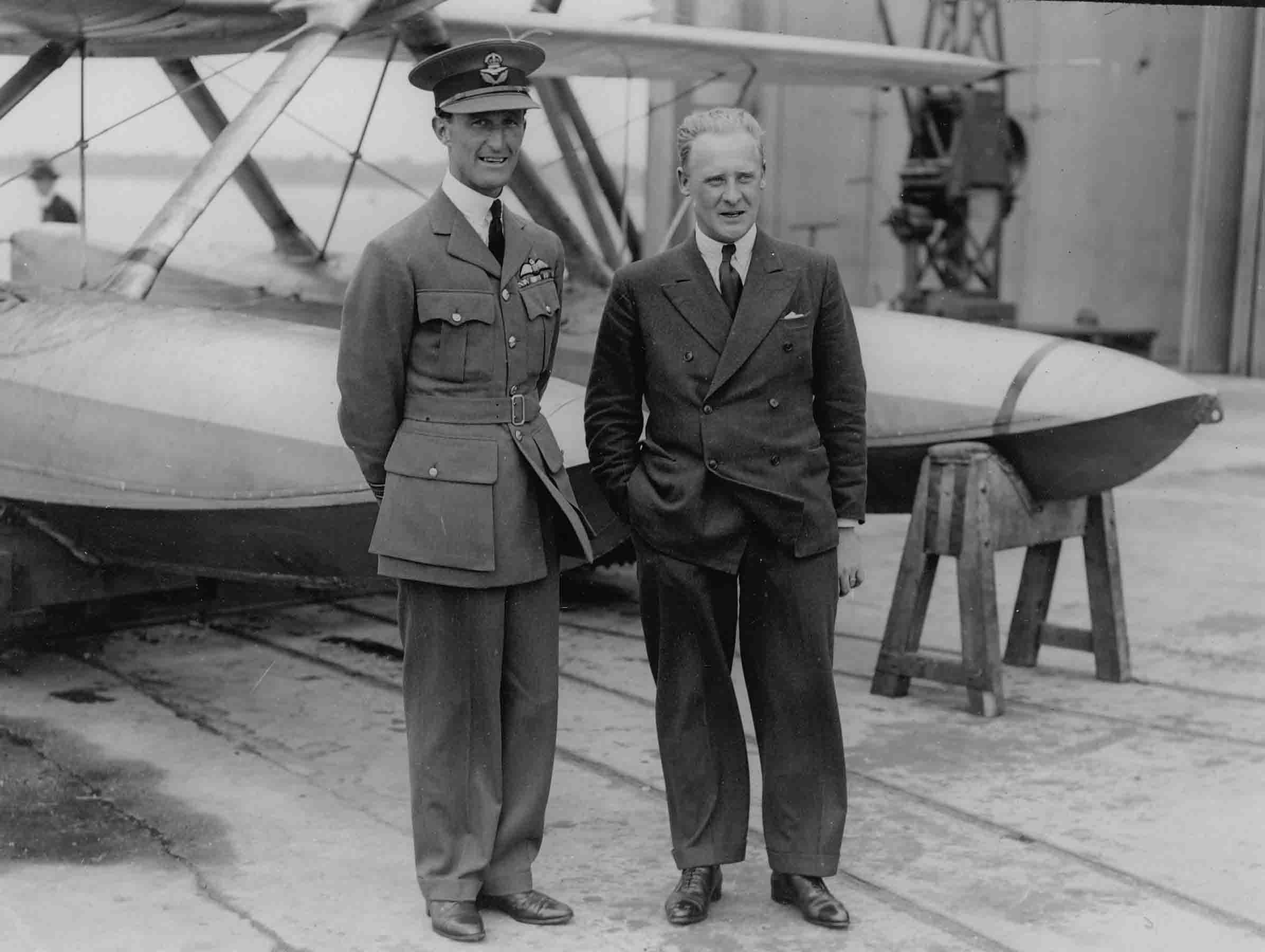 Reginald Joseph Mitchell standing in front of a seaplane with Air Cdre Augustus Henry Orlebar, circa 1929