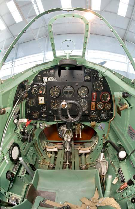 The cockpit of the Supermarine Spitfire Mk I at the RAF Museum Cosford