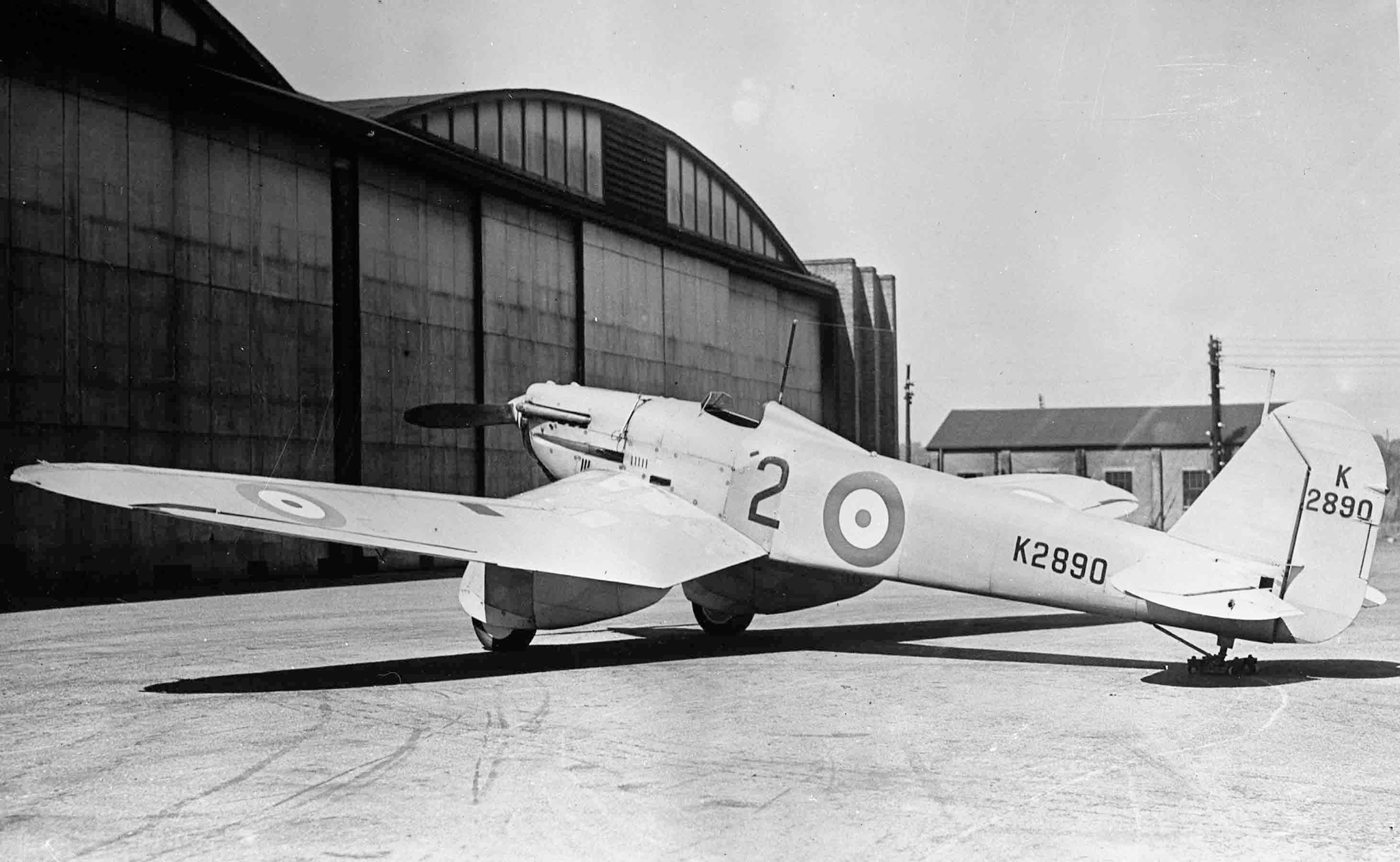 The Supermarine Model 224 had a fixed landing gear. The wing had an inverted gull configuration, meaning that it had a sharp bend downward. This was to make the fixed landing gear shorter. It also had evaporative cooling at the wing leading edges. The idea turned out to be impractical. The Model 224 was slower than the Gloster Gladiator biplane.