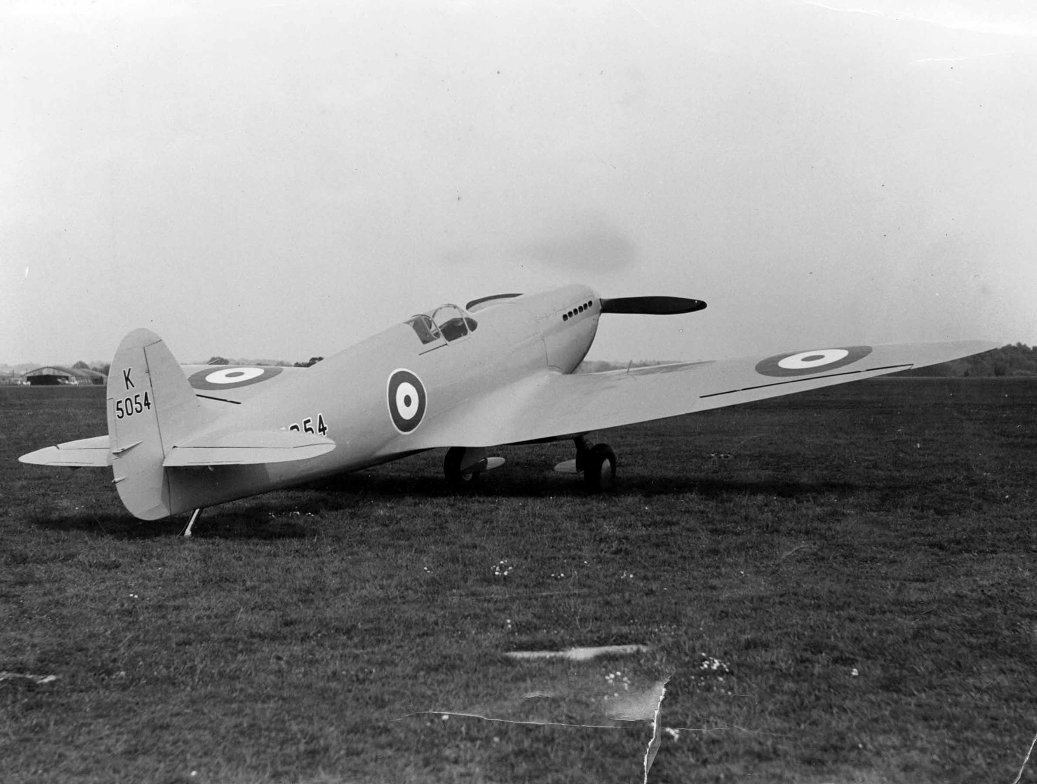 The streamlined features of the first Spitfire are obvious.