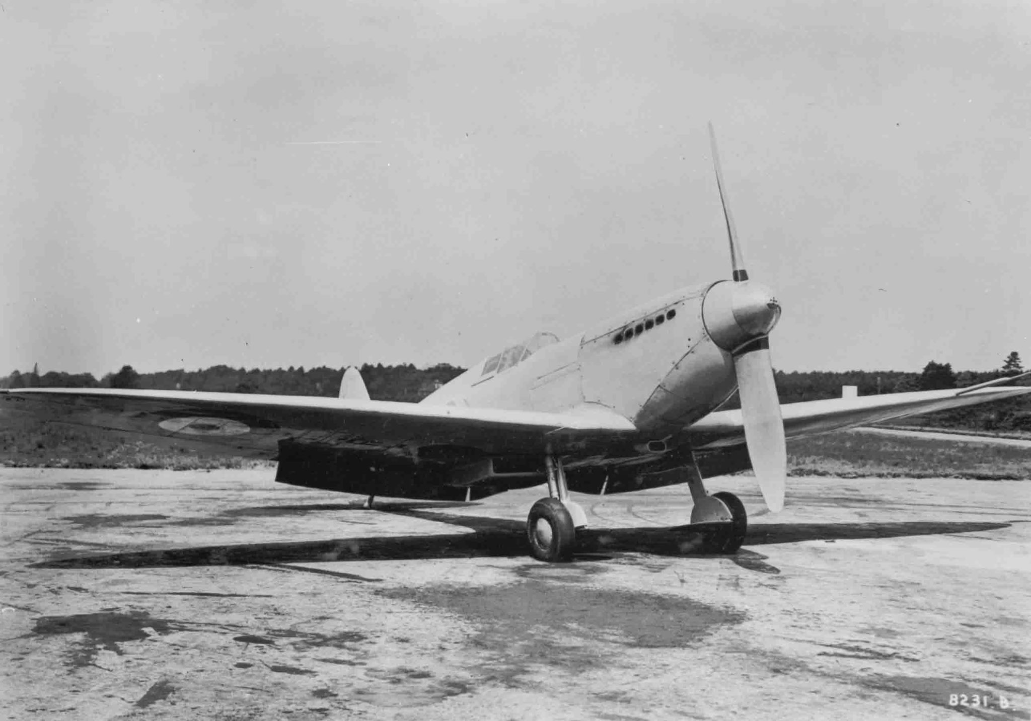 There she is ! The very first Spitfire. This is prototype K5054, photographed in 1936. The two-bladed propeller and conventional cockpit hood indicate this is an early version.