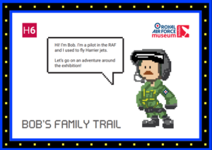 The front cover of Bob's family trail featuring a graphic of an RAF pilot.