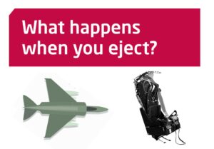 What happens when you eject? With a photo of a jet plane and an ejector seat.