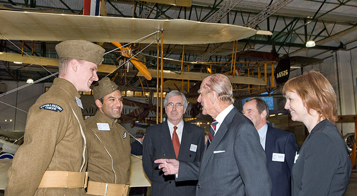 HRH The Duke of Edinburgh meeting Museum Apprentices at the opening of London's First World War in the Air Exhibition in 2014