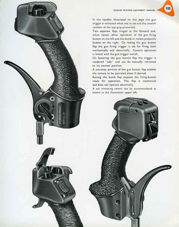 Illustration from 'Dunlop Aviation Equipment Manual' (Early 1950s) showing the type of firing handles fitted to Venoms and Javelins