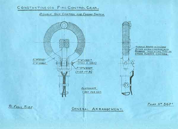 Illustration from AP516 'Control Handle fitted with Gun Release' issued by the Ministry of Munitions in 1918