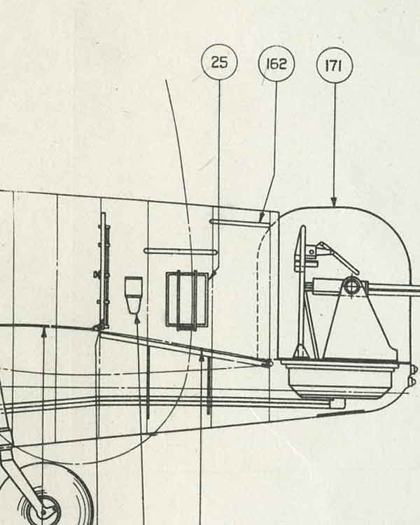Illustration from the manual for the Lancaster II, showing the location of the rear gunner's parachute storage canister, number 25 (Object N.o. 015910)