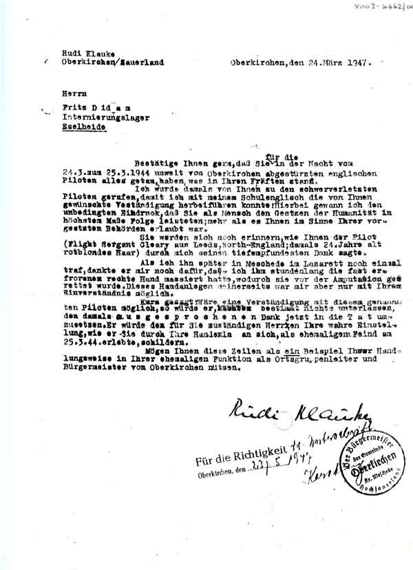Letter from Rudi Klauke to Fritz Diedams, interned at Eselheide in March 1947, regarding how Sgt John P. Cleary appreciated their efforts at treating his frostbite (RAF Museum Object No. X003-4642/002).