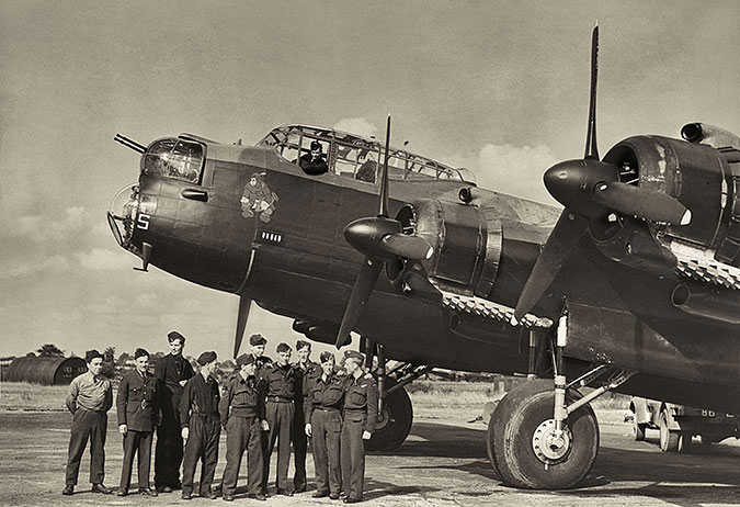 Jewish RAF Personnel in front of a Lancaster Bomber