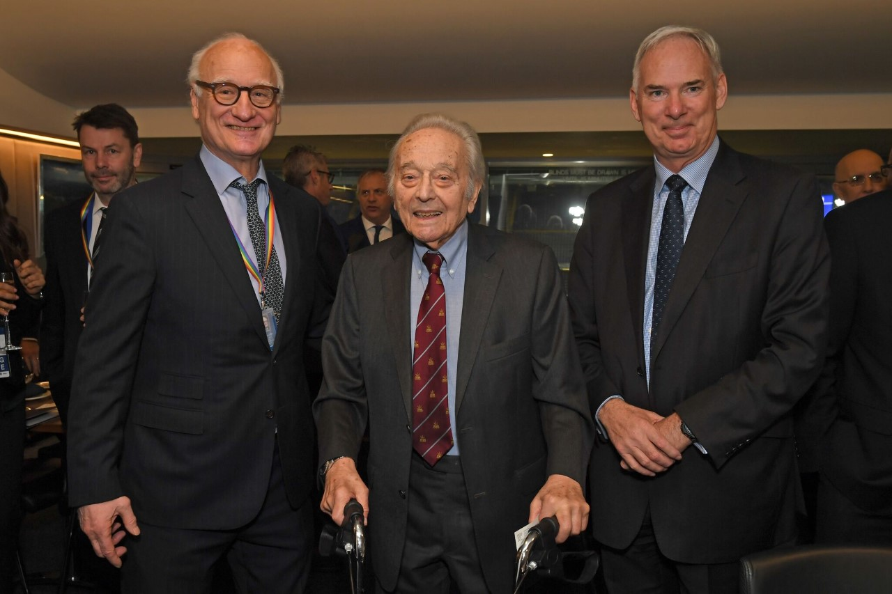 From Left to Right: Bruce Buck Chelsea FC Chairman, Squadron Leader (Retired) 'Benny' Goodman, Chairman of the Board of RAF Museum Trustees Sir Andrew Pulford