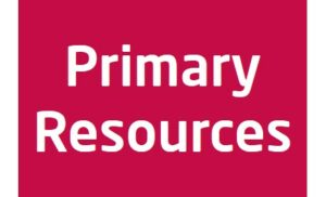 Red background with the words primary resources