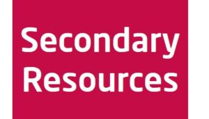 Red background with the words secondary resources